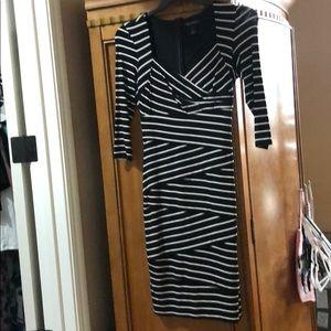 Black and white stripe knee length dress